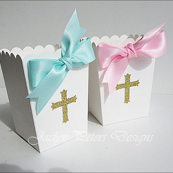 Boys Baptism Or Communion, Popcorn Favor Box, Gold Glitter Cross, Aqua Blue Satin Bow, Candy Buffet Box, Dessert Bar Supply, Set Of 20