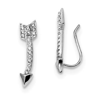 5 x 21mm Rhodium-Plated Sterling Silver CZ Arrow Ear Climber Earrings