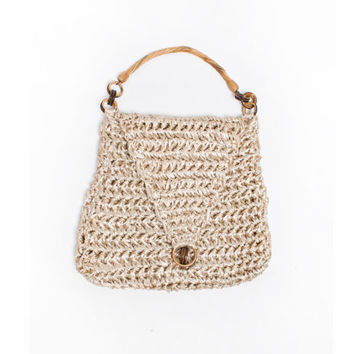 Vintage 1960s Purse - Raffia Woven Beige Large Hobo Beach Handbag 60s