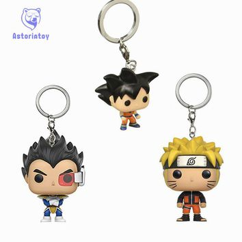 Keychain Naruto Dragon Ball gokou Vegeta action figure Bobble Head Q Edition no box for Car Decoration