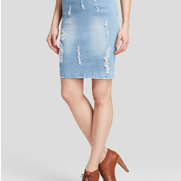 Distressed Denim Skirt by Lucy Paris