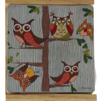 Counter Art Owls On Branches Square Coasters Set 4 With Wooden Holder Made USA