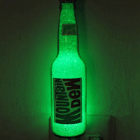 Mountain Dew Glass 12oz LED Night Light Bottle Lamp Glow Bar Man Cave Light Sign