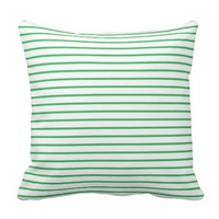 Green Lines White Pillow