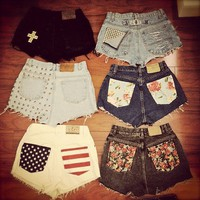 cute, high waisted shorts, patter - inspiring picture on Favim.com
