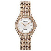 Citizen Eco-Drive Womens Silhouette Crystal - Rose Gold-Tone - Date