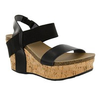 Corkys Wedge Black Sandals