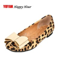 2017 Spring Summer Flats Women Elegant Bowtie Flat Heel Leopard Casual Shoes Fashion W
