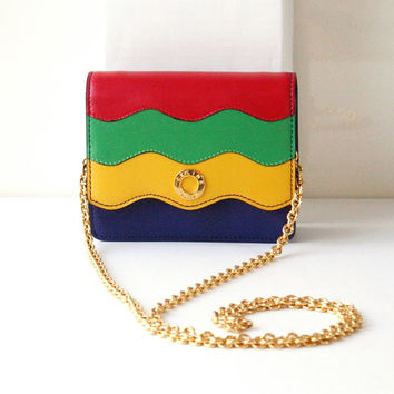 Authentic Celine Vintage Leather Chain Evening bag Red Green Yellow Navy Golden very Rare