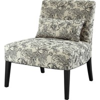 "Lila Armless Chair Black "" White Floral"