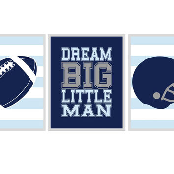 Sports Nursery Wall Art, Baby Boy Print, Football, Helmet, Dream Big LIttle Man - Boy Nursery Play Room Kid Art, Navy Blue Gray
