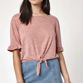 ONETOW LA Hearts Ruffle Tie Front T-Shirt at PacSun.com