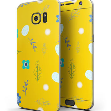 Bright Blue Flowers and Egg Pattern - Full Body Skin-Kit for the Samsung Galaxy S7 or S7 Edge