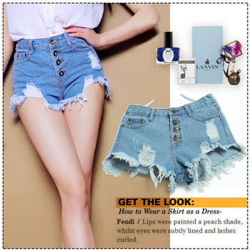 Summer Ripped Holes Tassels Mini High Rise Denim Shorts [6414314241]