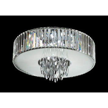 Trans Globe Lighting MDN-1140 Polished Chrome Chimes 18-Inch Crystal Flush Mount with Cubic Cut Crystal Shade, Frosted Glass Diffuser