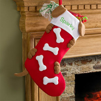 Love Them Bones Embroidered Dog Christmas Stocking