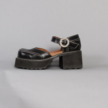 90s Black FLUEVOG Mary Janes / Chunky Black Leather Shoes, 8 8.5