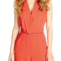 Red V-Neck Cap-Sleeve Chiffon Romper With Belt