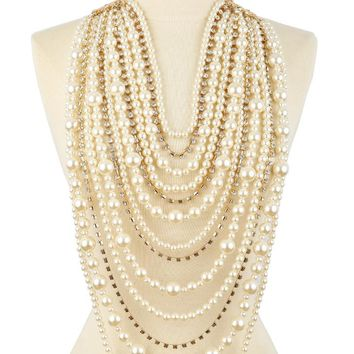 Chloe Multi Layered Simulated Pearl and Rhinestone Statement Necklace and Earring Set
