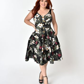Hell Bunny Plus Size 1950's Style Black Floral Print Tahiti Swing Dress
