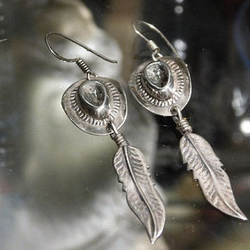 Cowboy Hat Feathers Sterling Silver Earrings Vintage Artisan Navajo Southwestern Western Tribal 925 Earrings Dangle Cowgirl Earrings Boho
