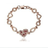 Chic Heart Rhinestone Embellished Bracelet Rose, Buy Chic Heart Rhinestone Embellished Bracelet Rose with cheapest price|wholesale-dress.net