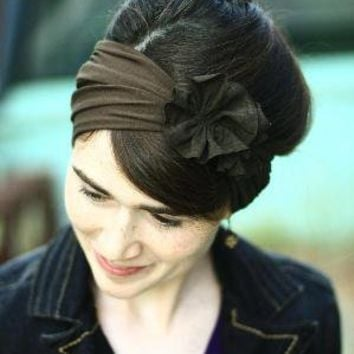 Stretch Rich Brown Rosette Hair Wrap Headband