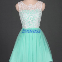 Affordable bridesmaid dress short,mint tulle bridesmaid gowns,cute women dresses for prom party.