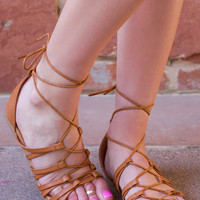Merry Lace Up Sandals - Tan