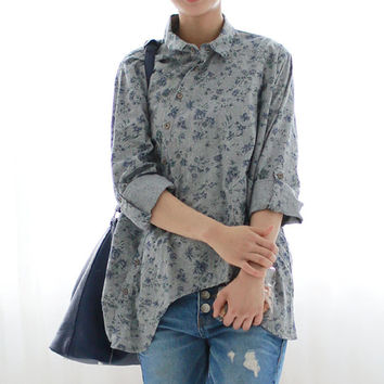 Oversized Women 2017 Lapel Buttons Down Long Sleeve Tops Shirt Blouse Floral Printed Irregular Hem Casual Baggy Tops Blusas
