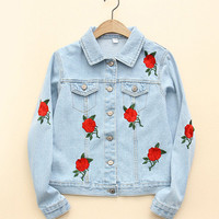Autumn Vogue Rose Embroidery Blue Denim Jacket Long SLeeve Lapel Washed Women Basic Coats Plus Size veste en jean WWWM70