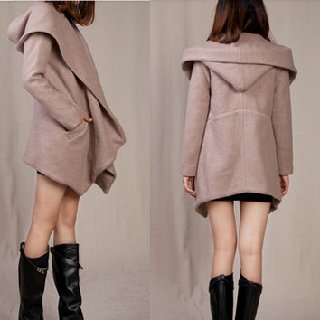 Women V neck asymaterical lapel coat Hoodie Jacket avant garde style cropped plus size Petite circle woolen Coat (WJ11198)