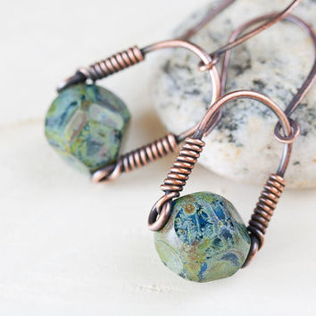 Contemporary Dangle Earrings with Green Czech Glass Beads by CookOnStrike