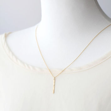 Hammered Gold Bar Drop Necklace - drop necklace, bar necklace, layering necklace, gold, simple