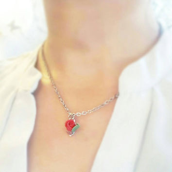 Beauty and the Beast Inspired Red Rose Pendant Necklace , Belle Inspired Disneybounding, Beauty and the Beast , Flower Girl Gift