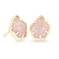 Kendra Scott: Tessa Stud Earrings In Rose Quartz