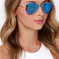Sky Pilot Gold and Blue Aviator Sunglasses