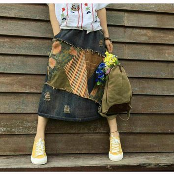 New Women's Fahion Clothing Denim Skirt Ripped Holes Vintage Patchwork Fashion Cute Skirt Long Preppy Style 549105620845