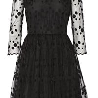 REDValentino - Layered embroidered tulle and crepe mini dress