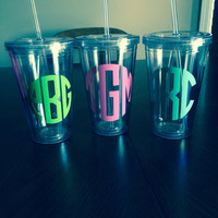 Monogram Acrylic Tumblers with lids and straws