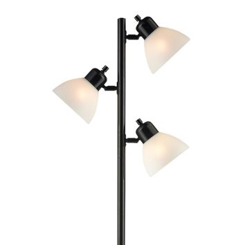 Light Accents 3-Light Tree Style Floor Lamp with Adjustable Lights - Black Finish