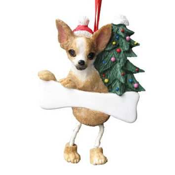 "Chihuahua Tan & White Ornament with Unique ""Dangling Legs"" Hand Painted and Easily Personalized Christmas Ornament"