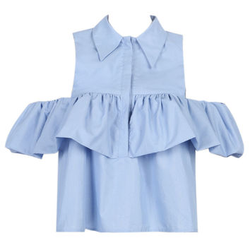 Light Blue Cold Shoulder Ruffle Detail Shirt