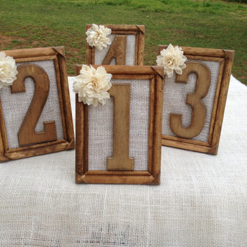 Rustic Wedding Table Numbers - Set Includes Numbers 1-15 - Shabby Chic - Picture Frame Table Numbers
