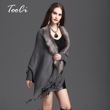 New Winter Womens Fashion Fake Fox Fur Collar Cashmere Sweater  Poncho Women Long Thick Knitted tassel Cardigan Capes