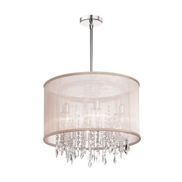 Dianolite Decorative 6 Light Crystal Chandelier, Polished Chrome, Oyster Organza Drum Shade