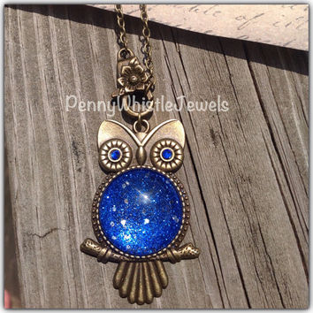 Blue Owl Necklace, Sapphire Glitter Belly Owl Necklace , Bronze Owl Necklace, Sapphire Owl, Owl Jewelry, PennyWhistle