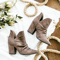 miracle miles - kendell - pointed toe bootie - snakeskin grey