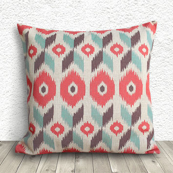 Ikat Pillow Cover, Pillow Cover, Fuschia Pillow Cover, Linen Pillow Cover 18x18 - Printed Ikat - 056