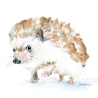 Watercolor Painting Hedgehog Giclee Print 8x10